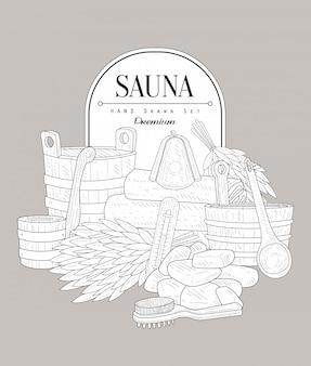 Sauna set vintage sketch