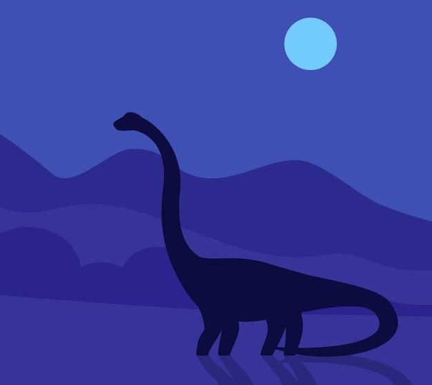 Зауропод, динозавр ночью