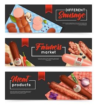 Sausage banners set