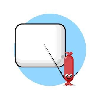 Sausage becomes a teacher cute character mascot