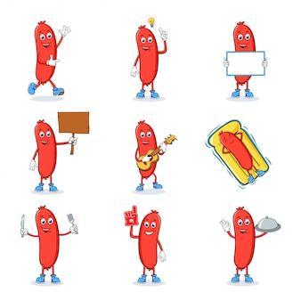 Sausage cartoon mascot character set collection
