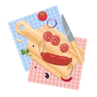 Sausage on a chopping board