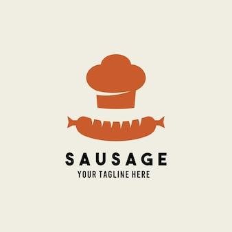 Sausage flat style design symbol logo illustration   template