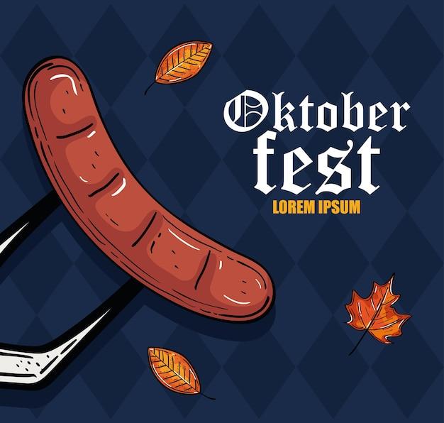 Sausage on fork with leaves design, oktoberfest germany festival and celebration theme
