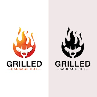 Sausage hot grilled logo, bbq, barbecue logo with black version