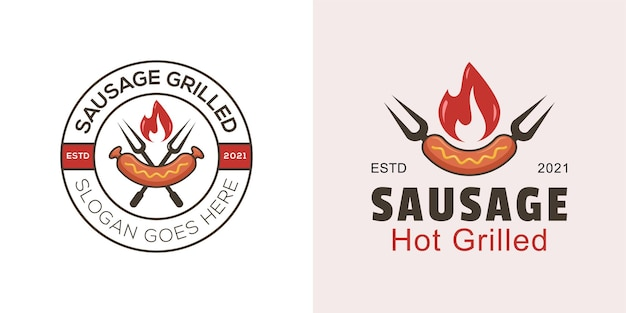 Sausage hot grilled logo for bbq logo with two version
