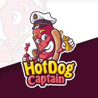 소시지 핫도그 캡틴 마스코트 로고