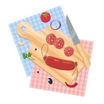 Колбаса на разделочной доске