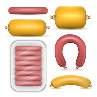 Sausage products isolated set