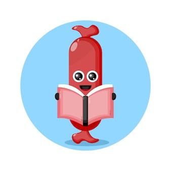 책을 읽는 소시지 귀여운 캐릭터 로고