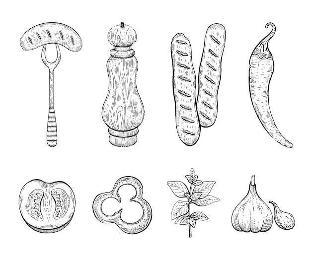 ソーセージスパイス刻印スケッチアイコンセット。フォーク、ペッパーミル、ブラートヴルスト、チリペッパー、トマト、パプリカ、オレガノ、ニンニクのソーセージ。