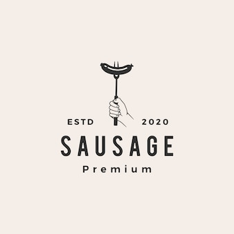 Sausage  vintage logo  icon illustration