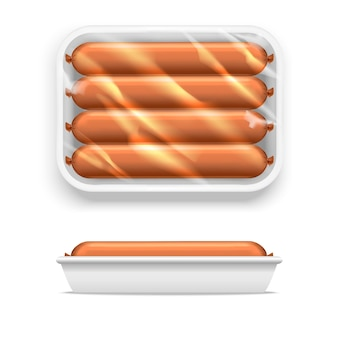 Sausage in white supermarket shop package. plastic container for fresh food, meat