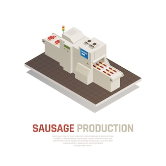 Sausages manufacturing isometric composition