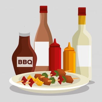 肉料理とバーベキューソース添えのソーセージ