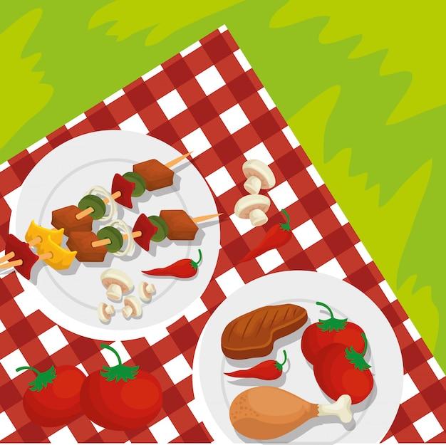Salsicce con carne e patate alla griglia