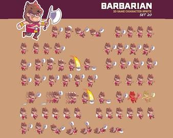 Savage Barbarian Tribe Cartoon Game Character Animation Sprite