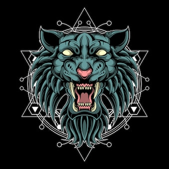 Savage fantasy tiger sacred geometry