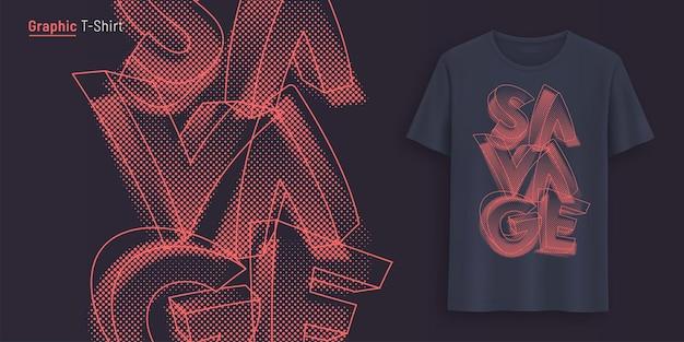 Дикий. графический дизайн футболки, типография, принт со стилизованным текстом. векторная иллюстрация