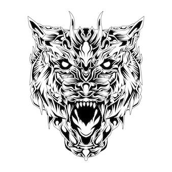 Savage wolf warrior illustration