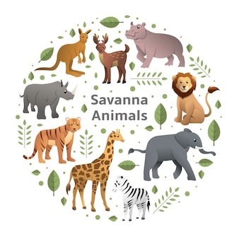 Savanna animals vector set