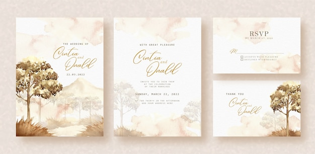 Savanna landscape watercolor background on wedding invitation
