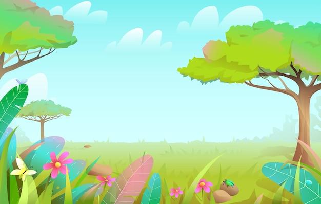 木々や芝生のあるサバンナ野生の自然のおとぎ話の森