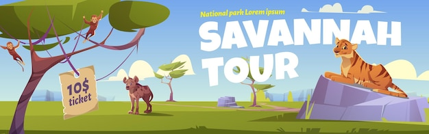 Savannah tour cartoon banner, invitation in national park with wild animals.