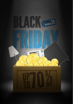 Save 70 percent black friday poster template. domestic appliances sale advert. wooden crate with tv set, microwave oven, golden coins in spotlight. stylish seasonal electronics clearance banner design