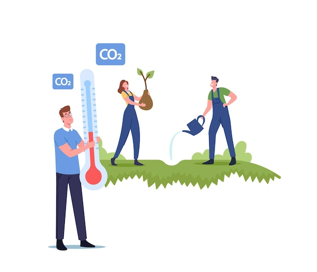 生物圏を救い、地球温暖化の概念を止めましょう。植生回復、植林と植樹、ボランティアキャラクターによる植樹、自然保護、環境保護。漫画の人々のベクトル図