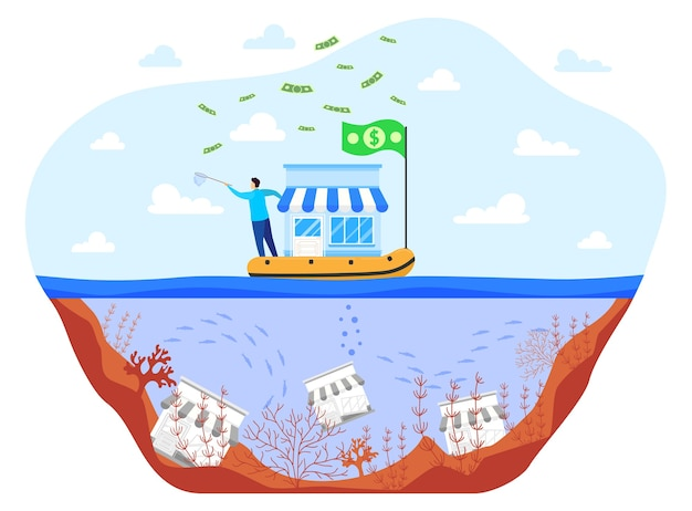 Save business during crisis flat vector illustration. cartoon businessman saving small business on boat, unhappy unsaved bankrupts drown in sea water
