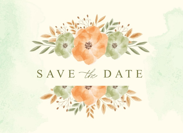 Save the date background with beautiful bouquet floral watercolor
