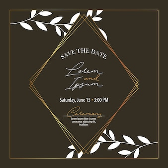 Save the date banner with foliage