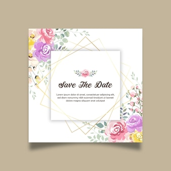 Save the date beautiful floral invitation