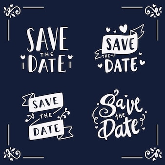 Save the date beautiful lettering set