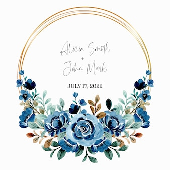 Save the date. blue floral wreath watercolor with golden frame