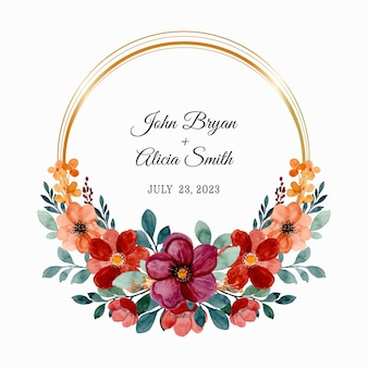 Save the date. burgundy and brown floral wreath with watercolor