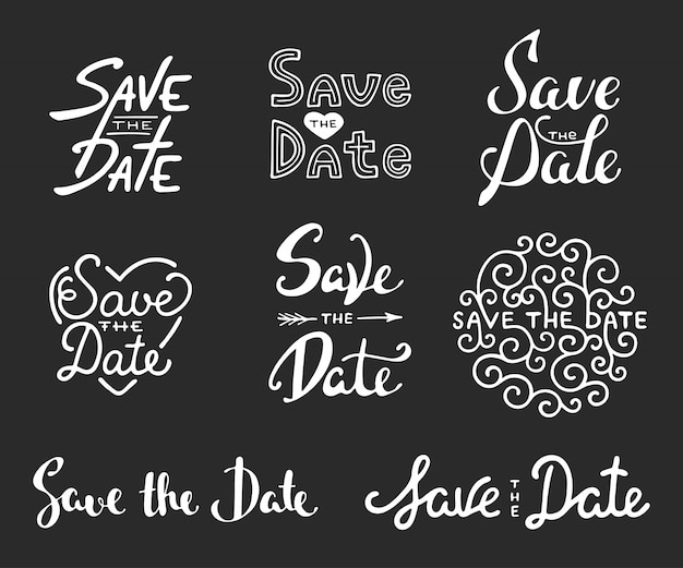 Save the date calligraphy phrases lettering