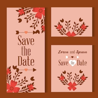 Save the date card decorated with flowers leaves on pink background