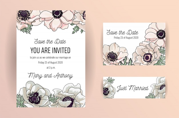 Save the date card design with elegant powder