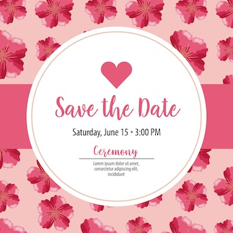 Save the date card label with pink flowers on