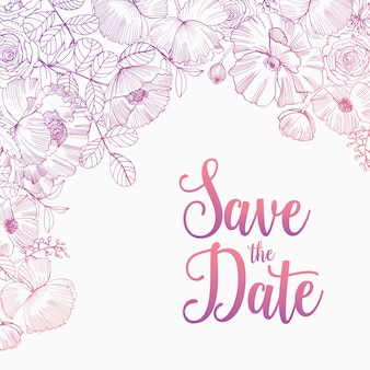 Save the date card square template decorated with elegant blooming garden flowers, inflorescences, leaves and buds hand drawn with pink contour lines on white background. natural illustration.