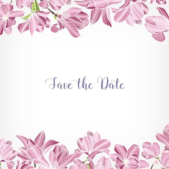 Save the date card template decorated with floral border or frame made of pink blooming magnolia flowers.