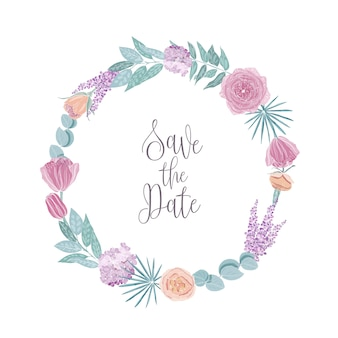 Save the date card template decorated with round frame, border or wreath made of flowers and leaves.
