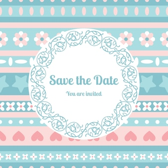 Save the date card template with floral frame