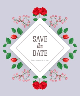 Save the date card template with flowers and leaves on gray background.