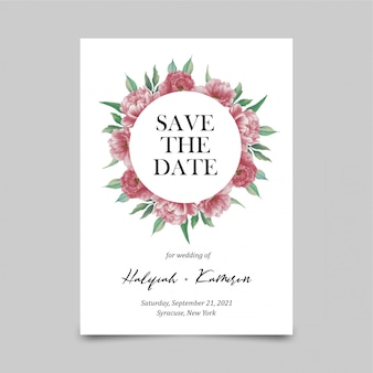 Save the date card template with watercolor peony flower decorations