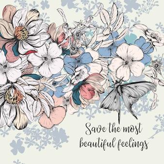 Salva la data card in modello vintage con fiori di rosa