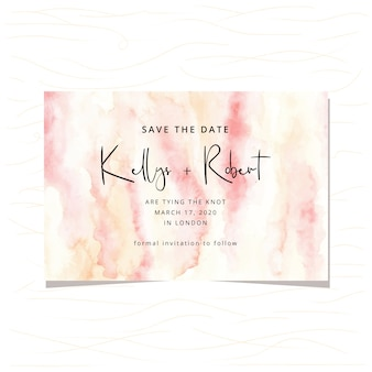 Save the date card with abstract watercolor background