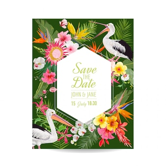 Save the date card with exotic flowers and birds